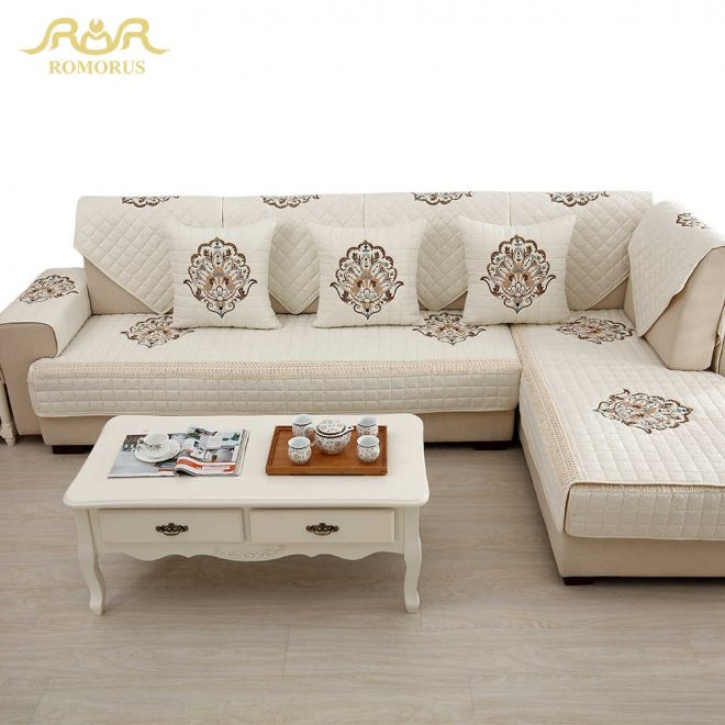 1 piece embroidered slipcovers sofa covers non slip cotton