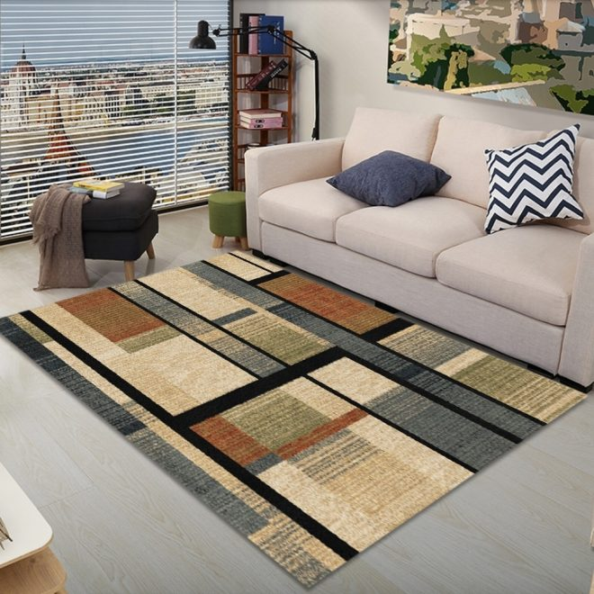 1 piece living room rug modern brief style geometric abstract anti slip rug