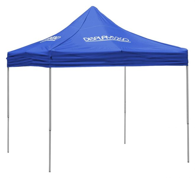 10 x 10 outdoor canopy tent with 4 custom imprints pop up square blue
