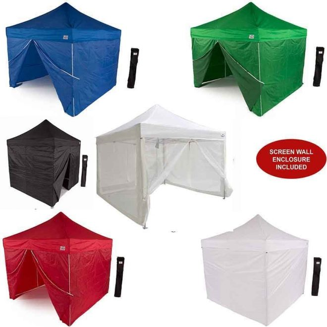 10x10 aol aluminum pop up canopy tent with sidewalls and screen room mosquito netting