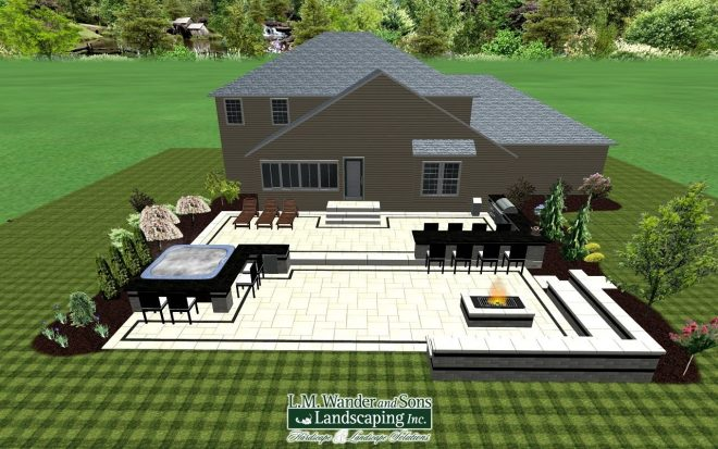 2 tiered paver patio design with outdoor kitchen hot tub