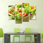2019 4 panels paintings wall art salad vegetable and fruit picture