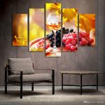 2019 5 panel painting glass wine fruit painting canvas art prints