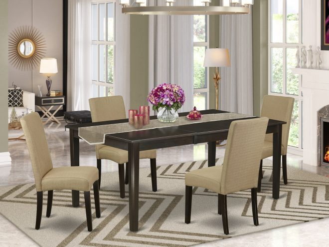 21a5916408be42229016bf534ac96ef1 5 pc formal dining room set dinette table and four parson chair with cappuccino finish leg and linen fabric brown