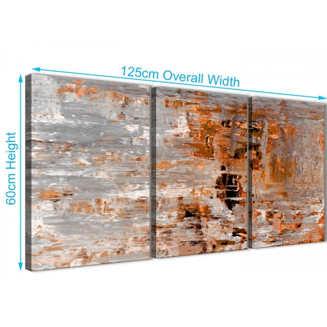 3 piece burnt orange grey painting hallway canvas pictures accessories abstract 3415 126cm set of prints