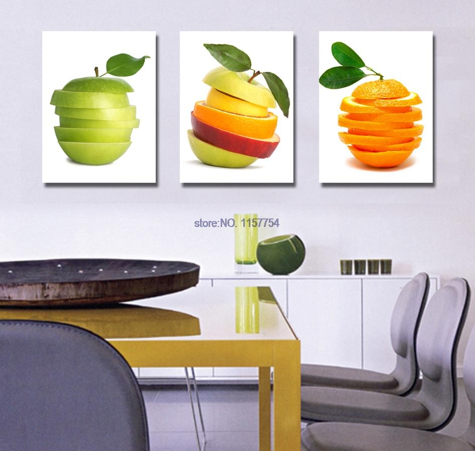 3 piece wall art fruit spray painting for kitchen canvas art canvas