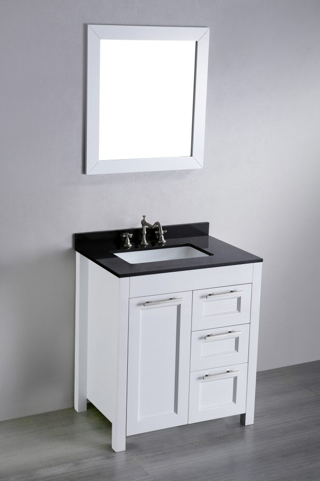 30 inch white contemporary single bathroom vanity black silver