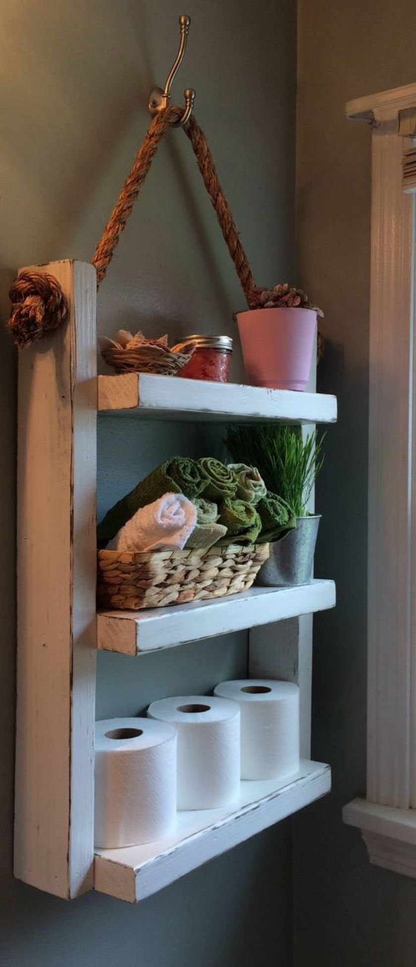 30 rustic country bathroom shelves ideas that you must try
