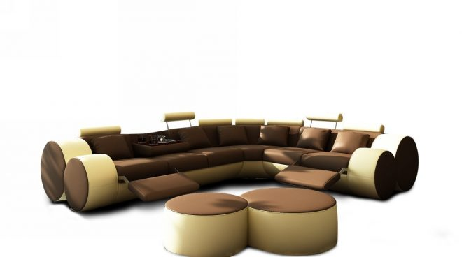 3087 modern brown and beige leather sectional sofa and coffee table