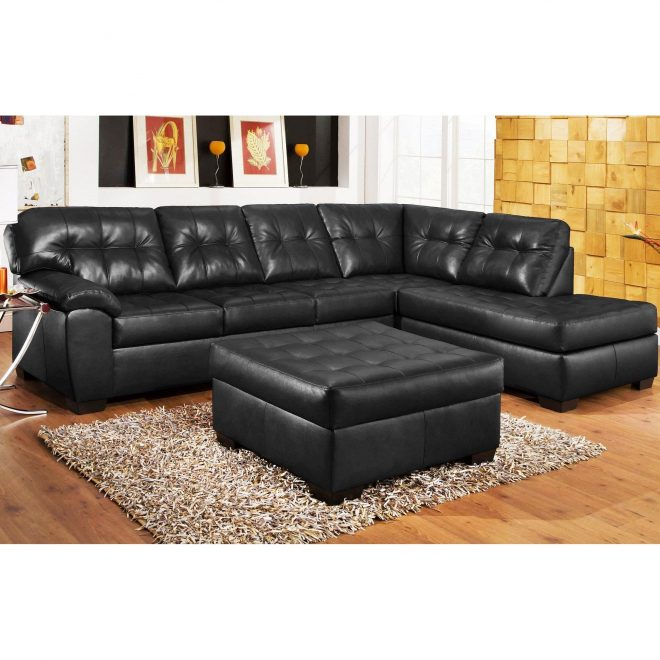 3pc black leather sectional sofa chaise ottoman set