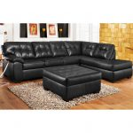 3pc black leather sectional sofa chaise ottoman set create the