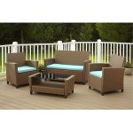 4 piece outdoor patio furniture set in brown wicker resin