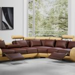 4087 modern leather sectional sofa with recliners