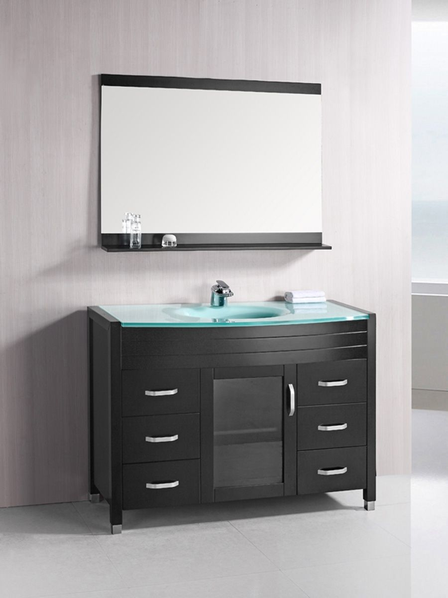 48 waterfall single bath vanity glass top