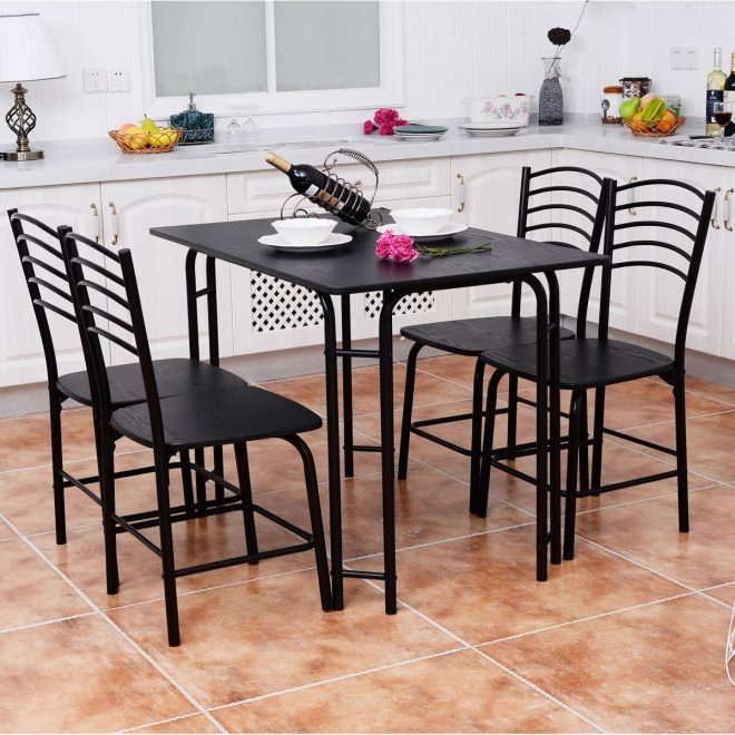 5 pcs modern dining table set 4 chairs steel frame home kitchen furniture black