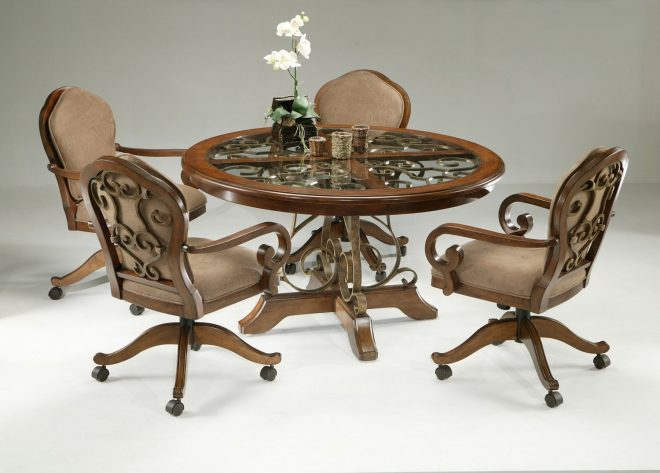 5 piece dinette set with caster chairs cherry finish