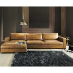 5 seater vintage leather corner sofa camel design
