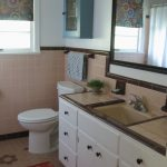 50s bathroom peach tile with reddish brown trim blue and