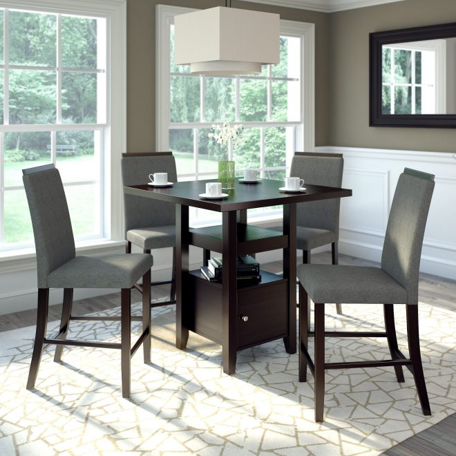 5pc 36 counter height cappuccino dining set pewter grey