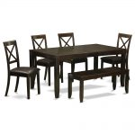 6 pc dining table with bench kitchen tables plus 4 dining chairs and bench east west furniture