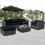 6 piece rattan wicker patio furniture set sectional sofa couch yard wblack