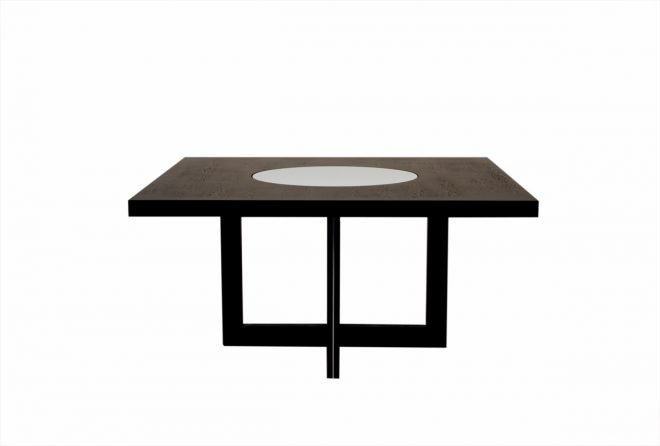 60 inch square dining table with crackled glass lazy susan