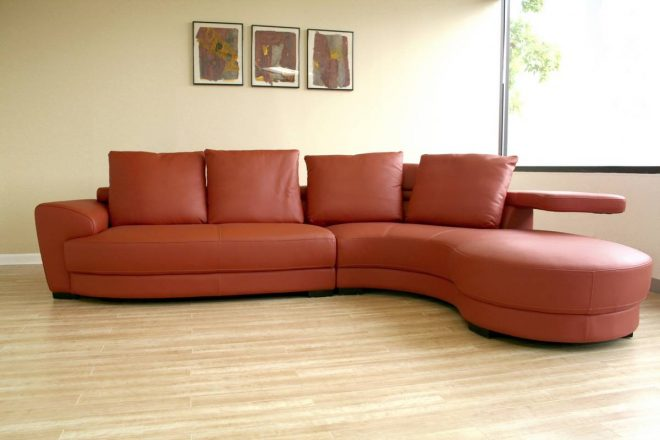 68 curved leather sectional sofa modern line furniture