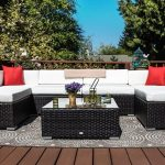 7 pcs rattan wicker outdoor patio furniture couch rattan