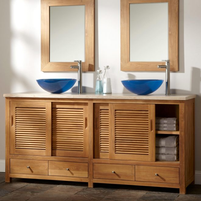72 arrey teak double vessel sink vanity natural teak bathroom