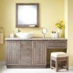 72 montara teak vessel sink vanity with makeup area gray