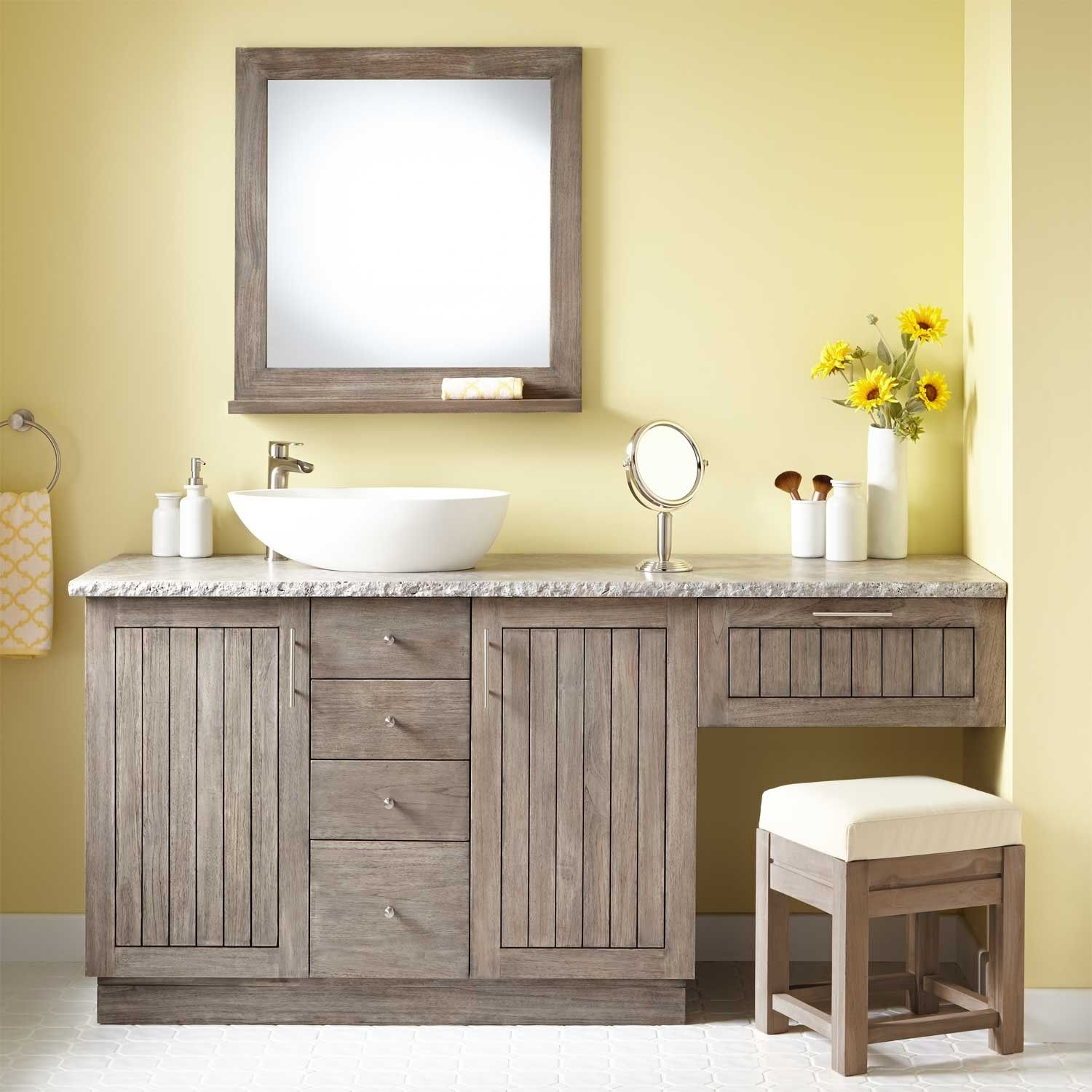 72 montara teak vessel sink vanity with makeup area gray wash