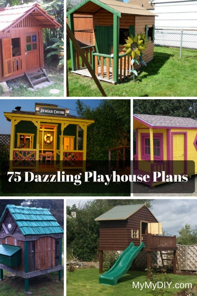 75 dazzling diy playhouse plans free mymydiy inspiring