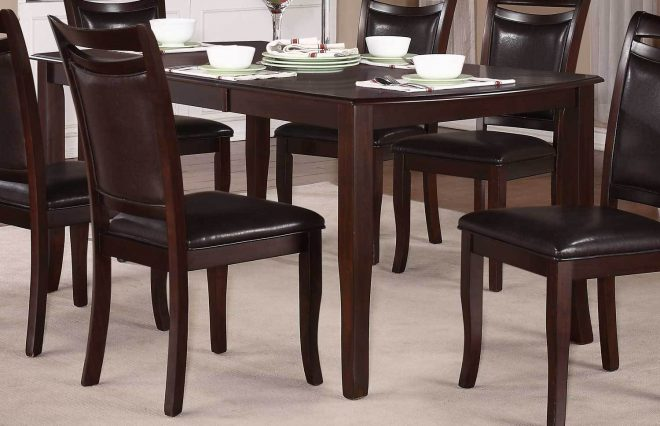 7pc dining room set dark cherry finish wooden table 6 upholster chairs furniture