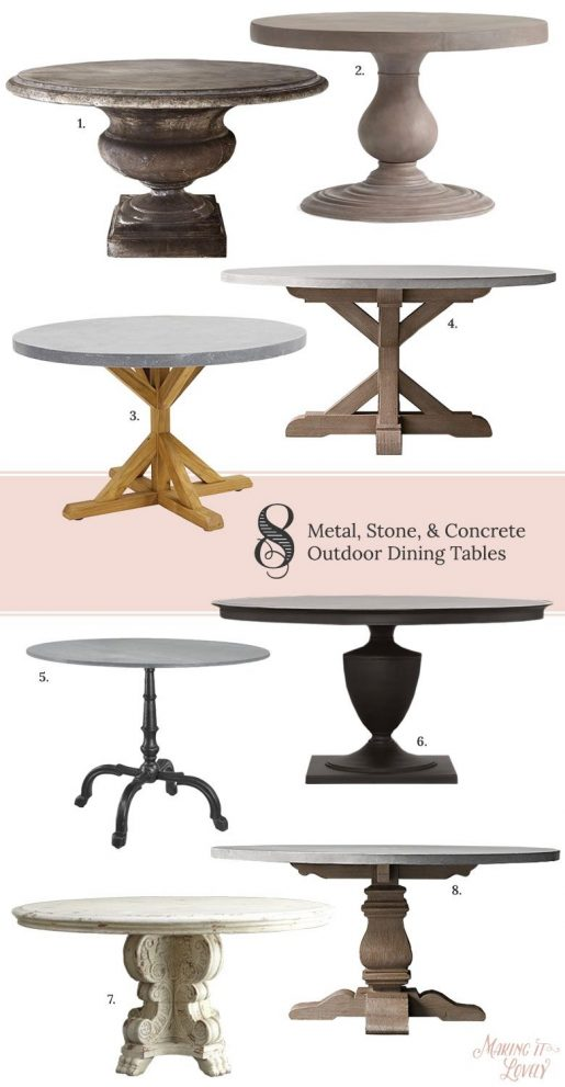 8 round metal stone concrete outdoor dining tables