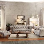 8469 3 3pc traditional brown tufted almond fabric sofa living room set