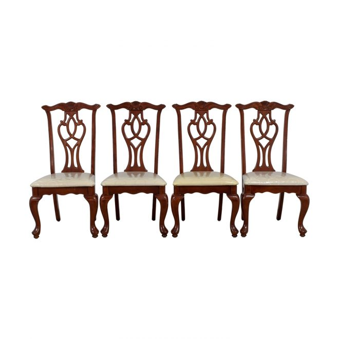 87 off off white upholstered cherry wood dining chairs chairs