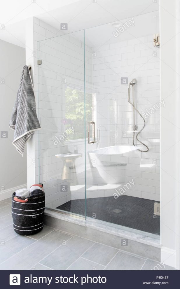 a high end residential bathroom shower stall with white