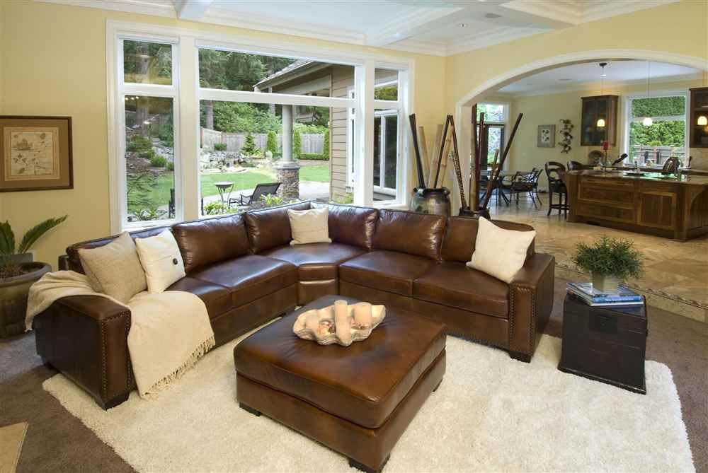 Carlyle Top Grain Leather Sectional and Ottoman in Rustic ...