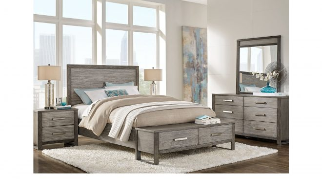 abbott gray 7 pc king panel bedroom with storage in 2019