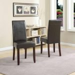 acadian dark brown faux leather parsons dining chair set of