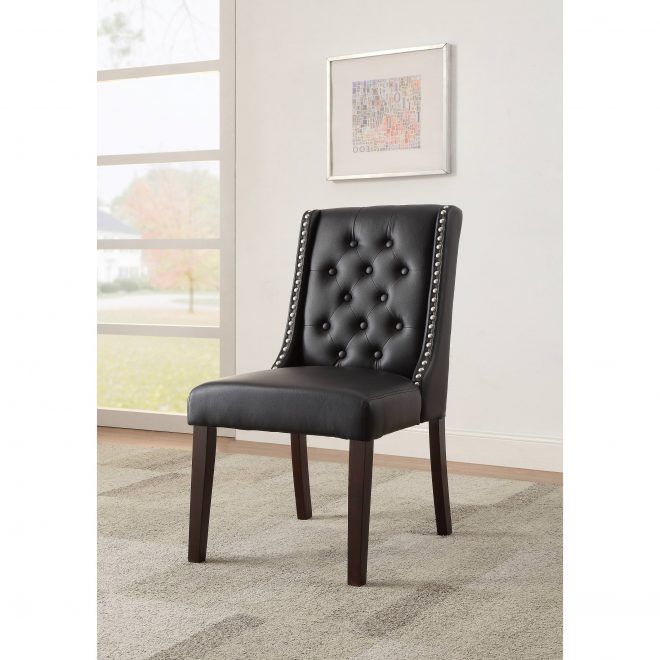 acme casey parsons chair in black faux leather set of 2