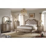 acme chelmsford 4pc eastern king bedroom set in tan fabric and antique taupe