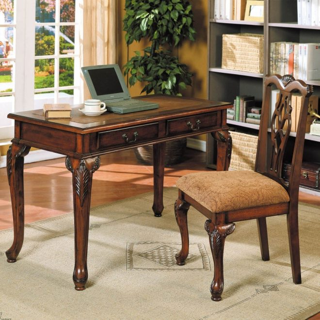 acme furniture aristocrat 2pc desk and chair set in dark brown cherry