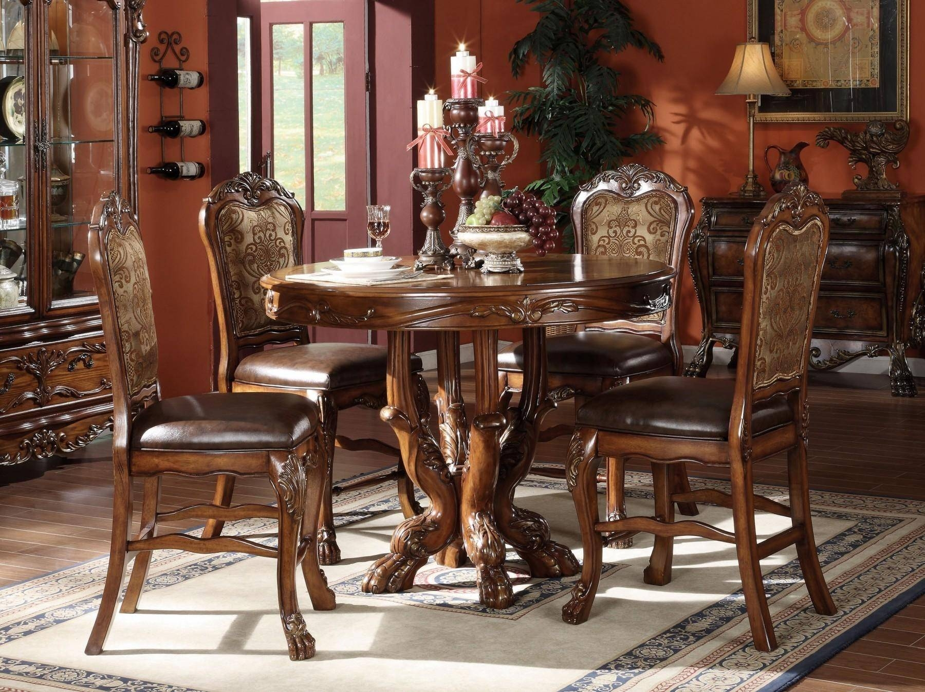 acme furniture cherry oak counter height dining room set 5pcs 12160
