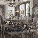 acme furniture versailles silver antique 11pc dining room set