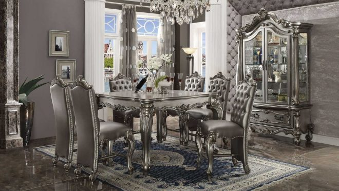 acme furniture versailles silver antique 7pc counter height set