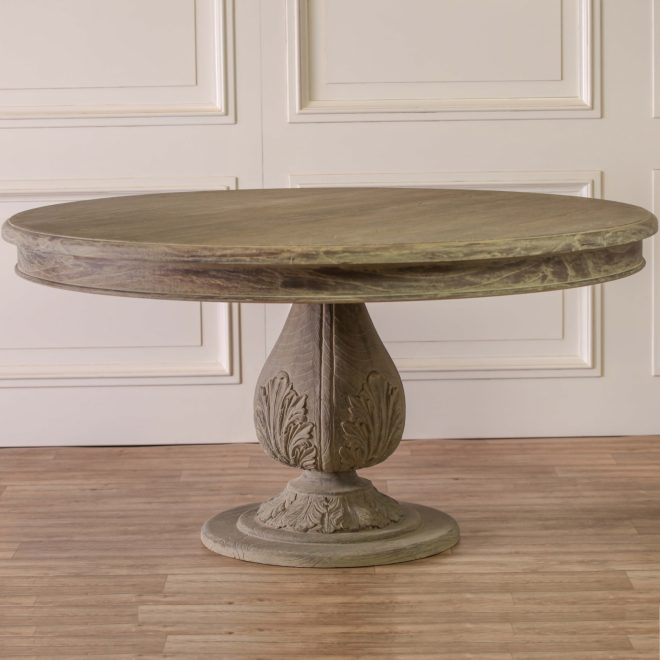 acorn pedestal round large washed dining table
