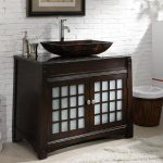 adelina 38 inch vessel sink bathroom vanity dark granite counter