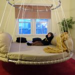 advanced design floating round hanging bed with upper ring