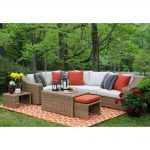 ae outdoor arizona 8 piece all weather wicker patio sectional with sunbrella fabric white cushions